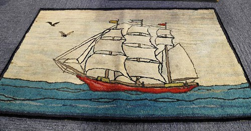 Pictorial Hooked Rug Featuring Sail Boat ($145.60)