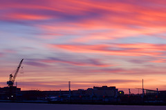 Sky On Fire (Cederquist Christoffer) Tags: 150seconds 150sec longexposure tripod bulbmode bulb canoneos60d canon70200f4 skyline sky redsky fire skyfire crane gothenburg sweden cederquist goldenhour goldenmoments goldenmoment beauty beautiful sunsetmagic sunset sunlight sunglow harbour city cityscape urban urbansunset