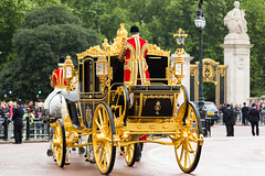 Britannia returns to the Royal Mews (Mikepaws) Tags: park uk greatbritain england london westminster modern gold carriage unitedkingdom britain military traditional capital royal parliament historic event annual procession tradition britannia wj 2014 ceremonial stateopening royalmews greaterlondon statecoach royalcollection frecklington statecoachbritannia