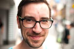Fred. (Daifuku Sensei) Tags: portrait toronto smiling beard glasses downtown dof strangers stranger fred yongestreet eatoncentre nikond300 nikon35mmf18dx banderaca