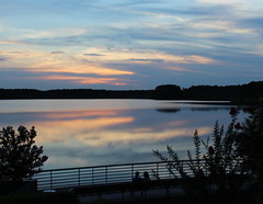 Enjoying the sunset (Sam0hsong) Tags: sunset reflections day cloudy lakes northcarolina 4thofjuly partycloudy