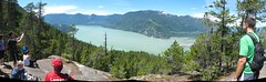 Upper Shannon Falls Viewpoint (Canadian Veggie) Tags: panorama bc hiking hike sound howesound viewpoint jm squamish photostitch dayhike viewingplatform seatosummit