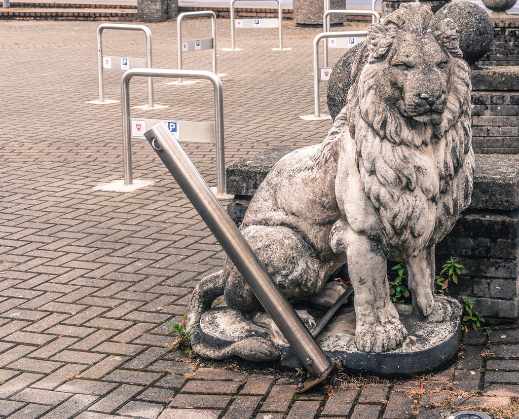 PUBLIC ART IN LIMERICK [JUNE 2014] - LION GUARDING A CAR PARK