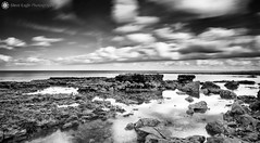 *** (Silent Eagle  Photography) Tags: uk sea bw seascape reflection clouds canon silver photography mar rocks long exposure shadows silent eagle north east sep usm whitburn f28l ef2470mm world100f copyright© bigstopper silenteaglephotography silenteagle09 mg8440bw