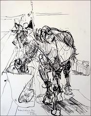 Ruby Eating in Her Pen (Kerry Niemann) Tags: horse inkdrawing apachejunction