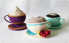 pincushions (Olilchen) Tags: cup coffee rose heart tea crochet pins latte amigurumi cushion doily saucer