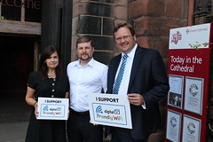 """Stephen Mosley MP joins RDI Friendly Wifi outside Chester Cathedral - one of first Friendly Wifi sites in world • <a style=""""font-size:0.8em;"""" href=""""http://www.flickr.com/photos/51035458@N07/14537791129/"""" target=""""_blank"""">View on Flickr</a>"""