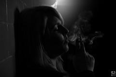 Smoky Girl (PMU - Photography) Tags: woman girl dark twilight smoke tunnel smoking frau mdchen dunkel rauch rauchen schummerlicht