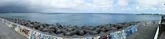 Mihama Sea Wall (Ma Zhengfang) Tags: ocean china sea japan island village pacific seawall east american okinawa ryukyu chatan mihama