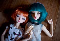 Effy and Marceline (Purple Raccoon) Tags: bjd fairyland marceline mline effy minifee woosoo rheia balljonteddoll
