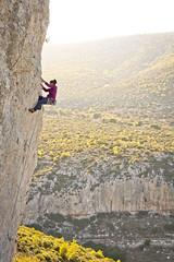 (Vertical Planar - planars.wordpress.com) Tags: girl pano athens greece climbing rockclimbing attica sesi ymittos αθηνα αναρρίχηση υμηττόσ hymmetos σεσι