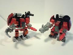 MFZ Demo - Red Team - Fire Dwarves (soriansj) Tags: lego mecha mech moc microscale mechaton mfz mf0 mobileframezero