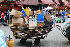Flat Packed (Plymography) Tags: road street city people urban hk streets colour metal truck work handle pull movement photographer bright box pavement south wheels australia icon move hong kong busy cardboard frame rubbish delivery adelaide push trucks waste cart recycle recycling load trolly iconic carts carry trolleys deliver movers jasonnolan plymography wwwplymographycom plymographycom