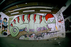 Christmas Lizard (Christopher Goode) Tags: school urban abandoned film college analog lens graffiti education pentax kodak arts australia brisbane haunted creepy fisheye sp ii queensland spotmatic 28 analogue russian exploration 16mm zenitar portra 800 urbex spii
