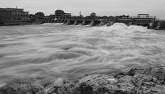 Rush (Viviana Nadowski Photography) Tags: bridge nature water wisconsin downtown action dam flowing beloit rockriver
