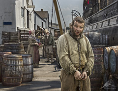 A New Life in the Colonies (Neil A Kingsbury) Tags: people hat docks beard chains ship dress crane barrels victorian rope warehouse convict crates prisoner hoist manacles