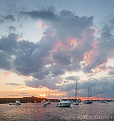 Clouds Over the Harbor (Alida's Photos) Tags: sunset clouds harbor boating blockisland moorings greatsaltpond