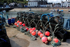 Creels and buoys (mootzie) Tags: pink blue sea scotland pier aberdeenshire barrel navy ropes buoys stonehaven creels yachtsails