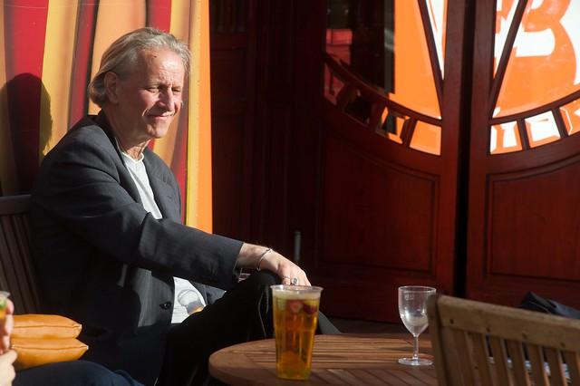 Enjoying a drink in the sunshin