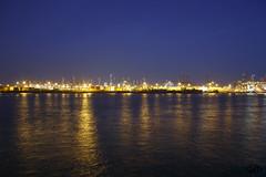 Hamburg Harbor at Night (janniswerner) Tags: city blue urban water skyline night port canon reflections river germany dark deutschland lights harbor cityscape crane dusk hamburg cranes german hh elbe altona nightfall deutsch 2014 canoneos6d