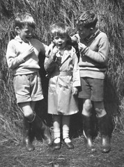 Evacuees 1940 (theirhistory) Tags: boys socks wales children war britain farm sandals country wwii 1940 safety haystack ww2 jumper shorts hay wellies evacuated