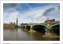 Big Ben and Double Decker (Ilan Shacham) Tags: bridge blue red sky bus london thames clouds river landscape cityscape view streetlamp fineart victorian scenic parliament bigben doubledecker fineartphotography