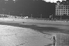 (Isa_IQV) Tags: sea summer people bw espaa beach water photoshop canon vintage landscape person mar spain gente artistic playa paisaje wb pasvasco