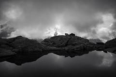 Fuorcla Surlej . 2755 AMSL (Toni_V) Tags: bw lake alps monochrome fog clouds reflections schweiz switzerland blackwhite europe nebel suisse hiking 28mm rangefinder alpen svizzera mountainlake bergsee engadin wanderung m9 2014 bernina oberengadin graubünden grisons svizra sep2 grischun fuorclasurlej elmaritm niksoftware messsucher ©toniv leicam9 140823 l1018066 pontresinavalrosegchamannacoazfuorclasurlejlejdalschödspontresina