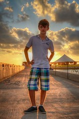 My sweet nephew (Sulafa) Tags: sunset sea sun clouds nephew seashore hdr