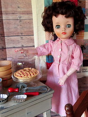 (16) Pie will cheer you up. (Foxy Belle) Tags: red food scale kitchen glass girl cake vintage cherry pie tin handle stand cabin inch doll quilt room 14 cottage american dining bake 19 diorama ware uneeda dollikin