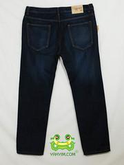 กางเกงยีนส์ขากระบอกเล็กผู้ชายอ้วนบิ๊กไซส์สีมิดบลู JNLY 003 หลัง