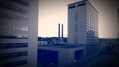 Parking Garage POV *in Blue & White Sepia (Kenneth Wesley Earley) Tags: spokane spokanewa downtownspokane 99201 spokanistan spokandyland