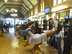 Shaves in progress (US Rt 40) Tags: utah barbershop saltlakecity barber shave groomsmen relaxed bridegroom straightrazor hotlathershaves