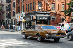 cruising for bagels (ho_hokus) Tags: ny newyork car brooklyn vintage store classiccar vintagecar unitedstates streetphotography storefront williamsburg pontiac bagels x20 2014 pontiacgrandprix vinatgepontiac fujix20 fujifilmx20