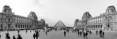 The Louvre (xmibux) Tags: city bw panorama white black paris france museum frankreich pyramid louvre stadt pyramide schwarz weis