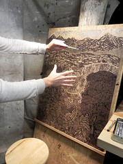 """Drawing the """"OVERLOOK"""" Woodcut (Tugboat Printshop) Tags: trees forest studio landscape drawing blockprint process overlook woodcut reliefprint inthestudio artiststudio multiblock tugboatprintshop colorwoodcut pittsburghartists woodcutprocess intheartiststudio"""