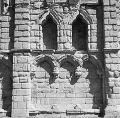 Ruined Arches (cazphoto.co.uk) Tags: tlr film monochrome architecture rollei rolleiflex mono ruin vintagecamera tynemouthpriory fh twinlensreflex carlzeiss 120rollfilm ilfordfp4125 rolleiflext frankeheidecke tessar75mmf35 oberkochen synchrocompurmx