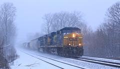 Kicking up the fresh snow (GLC 392) Tags: csx es40dc es44dc gevo 5202 5407 snow squall early morning miller in indiana gary kicking up railroad train railway transportation