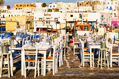 Naousa Harbour, Paros (Kevin R Thornton) Tags: chair d90 taverna landscape travel street greece naousa mediterranean table architecture nikon harbour paros egeo gr