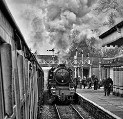 Bury Lancashire 11th March 2017 (loose_grip_99) Tags: eastlancs railway bury bolton street station railroad rail train steam england uk lancashire lyr engine locomotive black5 lms stanier 460 45407 preservation transportation gala gassteam uksteam trains railways northwest blackwhite noiretblanc march 2017