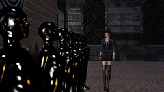 Inspecting The Troops (alexandriabrangwin) Tags: world girls madame woman black sexy leather sex fetish computer army 3d graphics women shiny uniform dress general skin goddess bald gimp skirt rubber glossy riding secondlife virtual crop heads latex coverage total mistress sleek domme kinky polished catsuit overload cgi dominatrix domina lineup enclosure thighboots updo slavegirl alexandriabrangwin