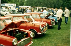 Mini MK1`s line up at stamford hall Mini rally mid 1990`s (old barton coaches) Tags: classic car austin hall rally mini cooper stamford morris mk1