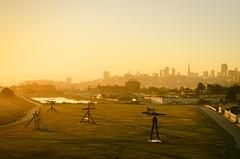 Magical morning (morozgrafix) Tags: sanfrancisco california unitedstates nikon2470mmf28g nikond7000 crissyfield morning mist fog sunrise skyline palaceoffinearts yellow