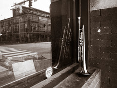 Music City (TnOlyShooter) Tags: reflection window downtown nashville tennessee broadway trumpet streetperformer brass musiccity
