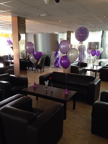 Tafeldecoratie 3ballonnen Paars, Zilver, Lila Hotel Atlas Spijkenisse