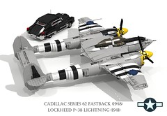 Lockheed P-38 Lightning (1941) and Cadillac Series 62 Fastback (1948) (lego911) Tags: auto classic 1948 car plane airplane model europe fighter lego pacific render aircraft air wwii aeroplane cadillac 1940s chrome series lightning fin bomber lockheed coupe challenge v8 1941 62 cad 79 tailfin lugnuts povray fastback moc p38 ldd usaaf miniland turbosupercharge lego911 lugnutsgoeswingnuts