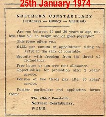 Northern Constabulary (Caithness-Orkney-Shetland) recruiting advert 1974 (conner395) Tags: scotland highlands alba scottish police escocia highland scotia northern polizei szkocja caledonia policia conner esccia schottland polis schotland polizia ecosse politi politie scozia policja skottland poliisi politsei policie skotlanti polisi constabulary skotland policija    polisie politia scottishpolice  daveconner conner395  davidconner daveconnerinverness daveconnerinvernessscotland policescotland