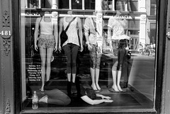 Yoga with mannequins (Damien Sass) Tags: street city nyc people urban blackandwhite bw newyork mannequin window fashion shop yoga photography fuji broadway clothes bigapple x100