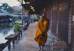 Alms at Dawn (Brit S. (Kai)) Tags: travel portrait people urban thailand asia market candid religion floating buddhism monks begging alms ampawa