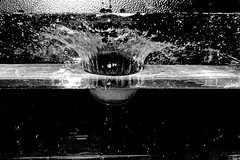 Freezing Motion Orange Dropped into Water (Black and White Edit) (Sean Nicholls Photography) Tags: water fruit speed canon photography drops high flash drop splash highspeed